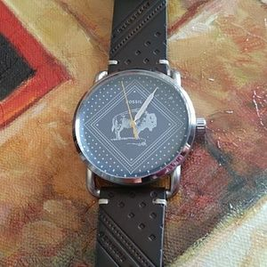 Fossil Men's Buffalo Blue face Brown Leather Watch